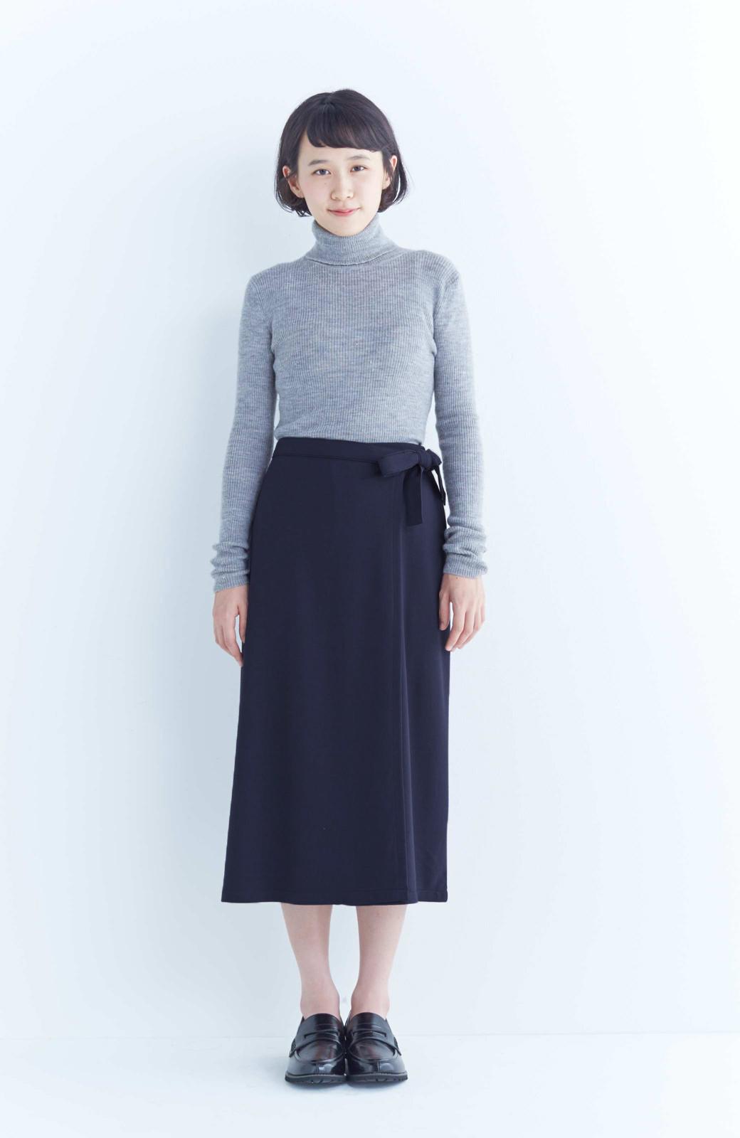 haco! スカート派さんもお気に入り ウエストリボンのスカートパンツ <ダークネイビー>の商品写真9