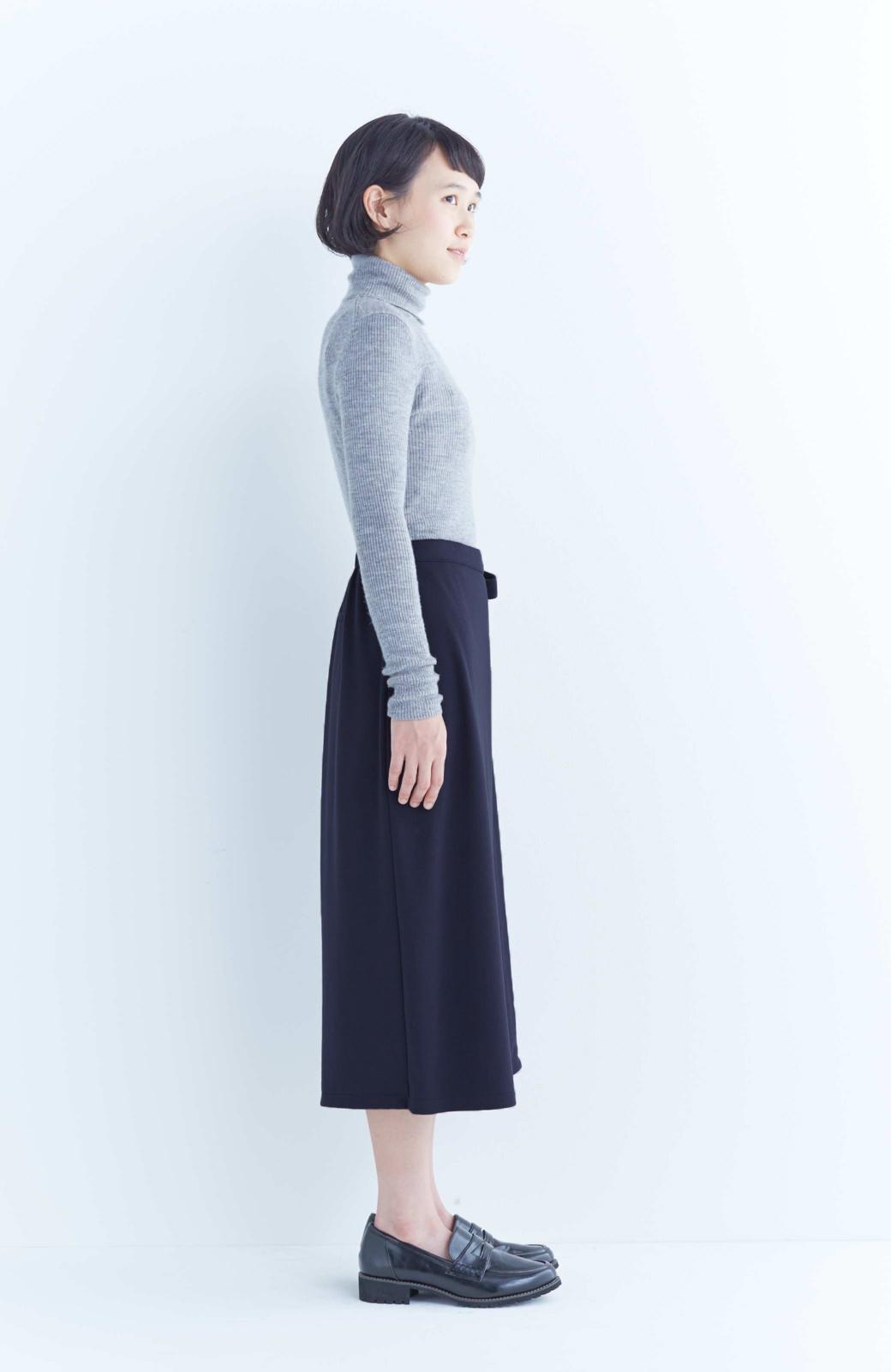 haco! スカート派さんもお気に入り ウエストリボンのスカートパンツ <ダークネイビー>の商品写真10
