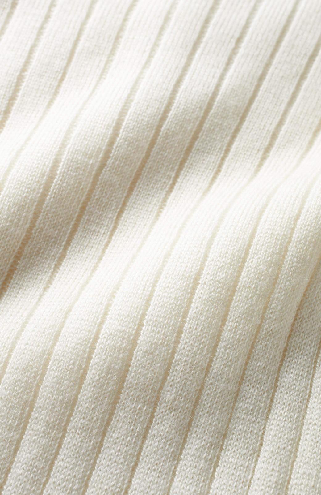 エムトロワ ワイドリブの気持ちいいカシミア混タートルニット <オフホワイト>の商品写真3