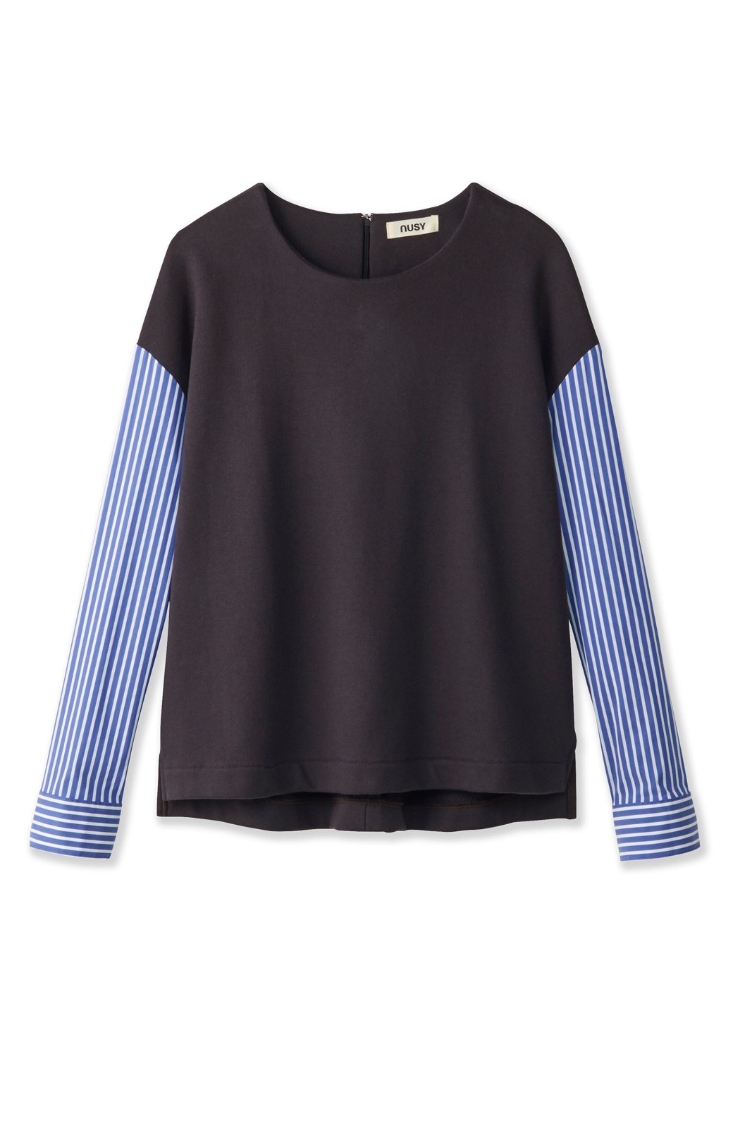 nusy ぱっと着るだけで簡単なのにスウェットより油断してなく見える、シャツ袖スウェット <チャコールグレー>の商品写真1