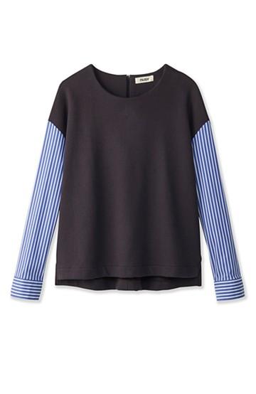 nusy ぱっと着るだけで簡単なのにスウェットより油断してなく見える、シャツ袖スウェット <チャコールグレー>の商品写真
