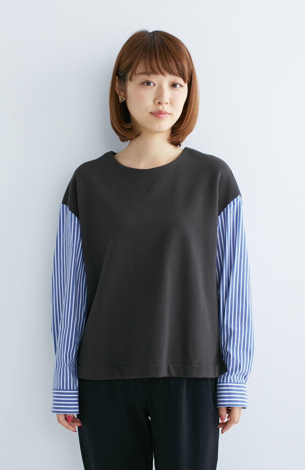nusy ぱっと着るだけで簡単なのにスウェットより油断してなく見える、シャツ袖スウェット <チャコールグレー>の商品写真2