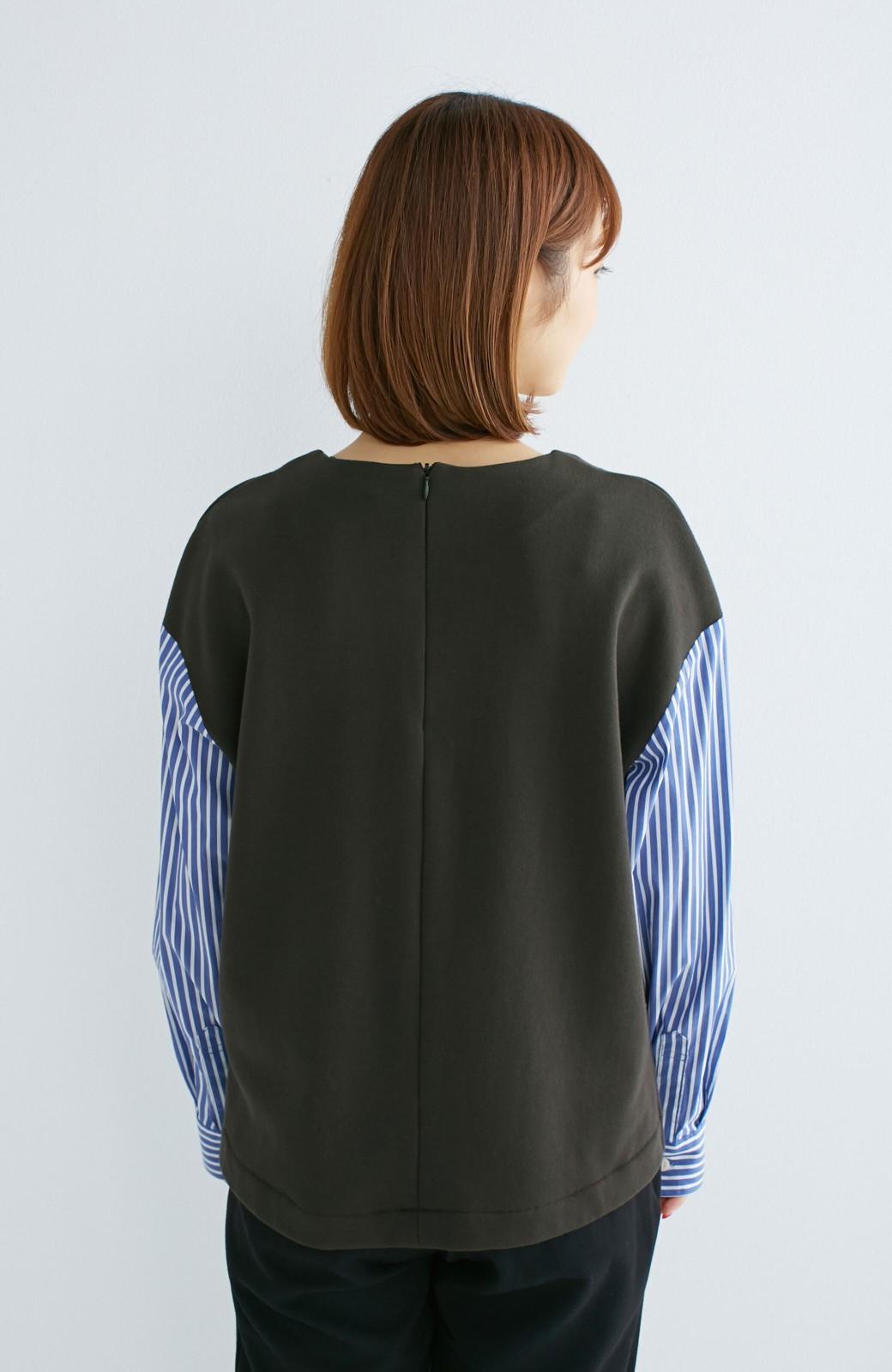 nusy ぱっと着るだけで簡単なのにスウェットより油断してなく見える、シャツ袖スウェット <チャコールグレー>の商品写真15