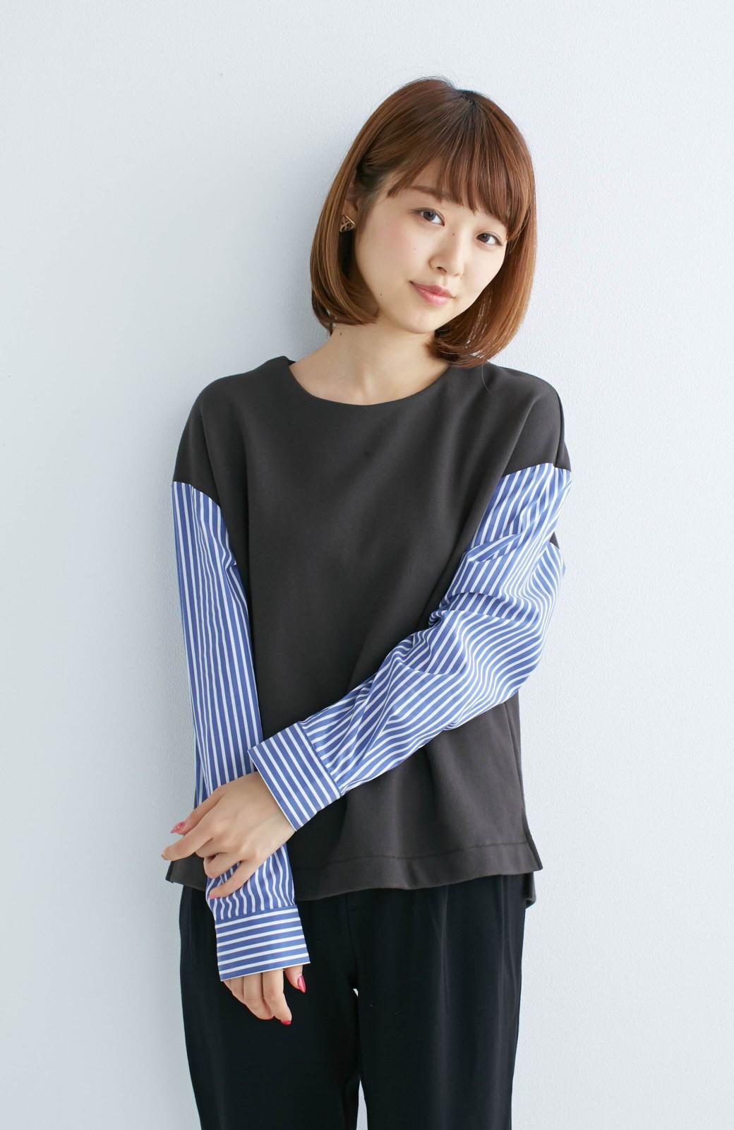 nusy ぱっと着るだけで簡単なのにスウェットより油断してなく見える、シャツ袖スウェット <チャコールグレー>の商品写真3