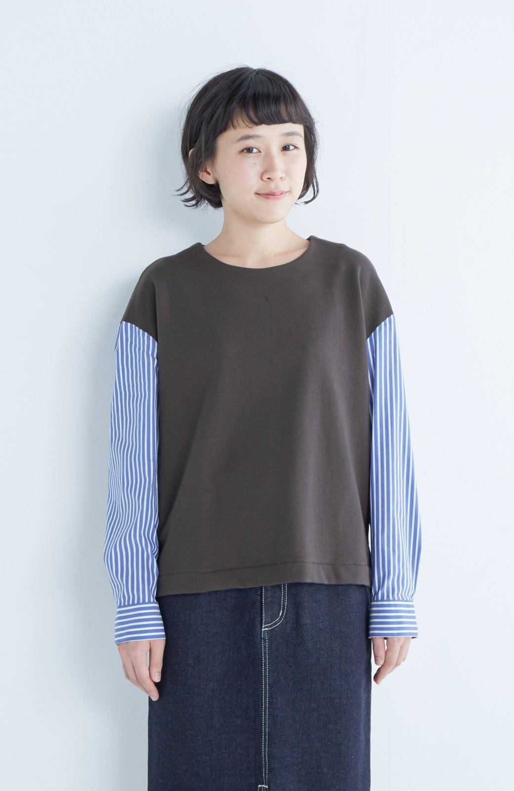 nusy ぱっと着るだけで簡単なのにスウェットより油断してなく見える、シャツ袖スウェット <チャコールグレー>の商品写真8