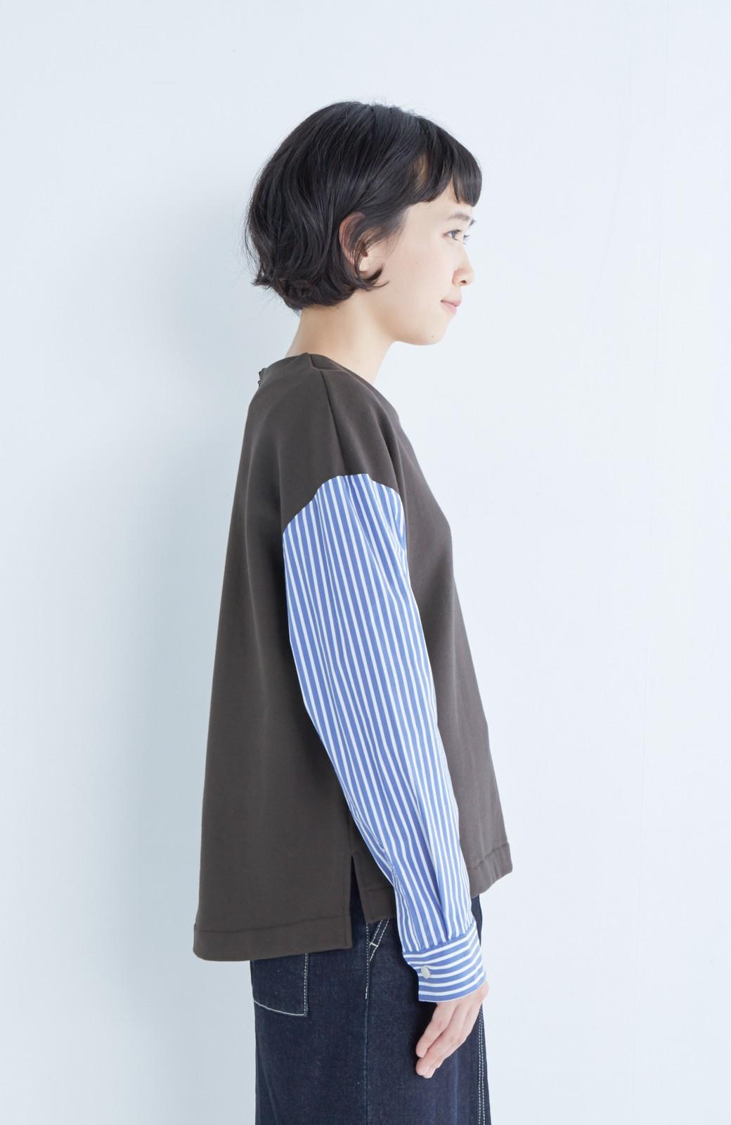 nusy ぱっと着るだけで簡単なのにスウェットより油断してなく見える、シャツ袖スウェット <チャコールグレー>の商品写真9