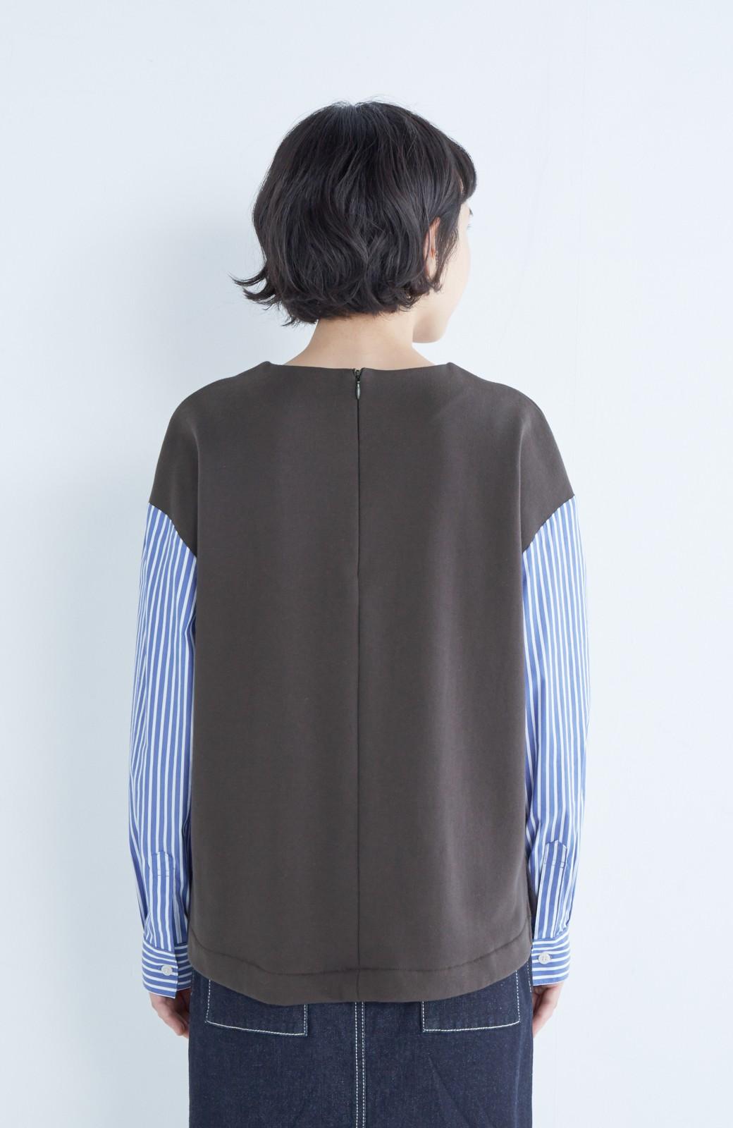 nusy ぱっと着るだけで簡単なのにスウェットより油断してなく見える、シャツ袖スウェット <チャコールグレー>の商品写真10