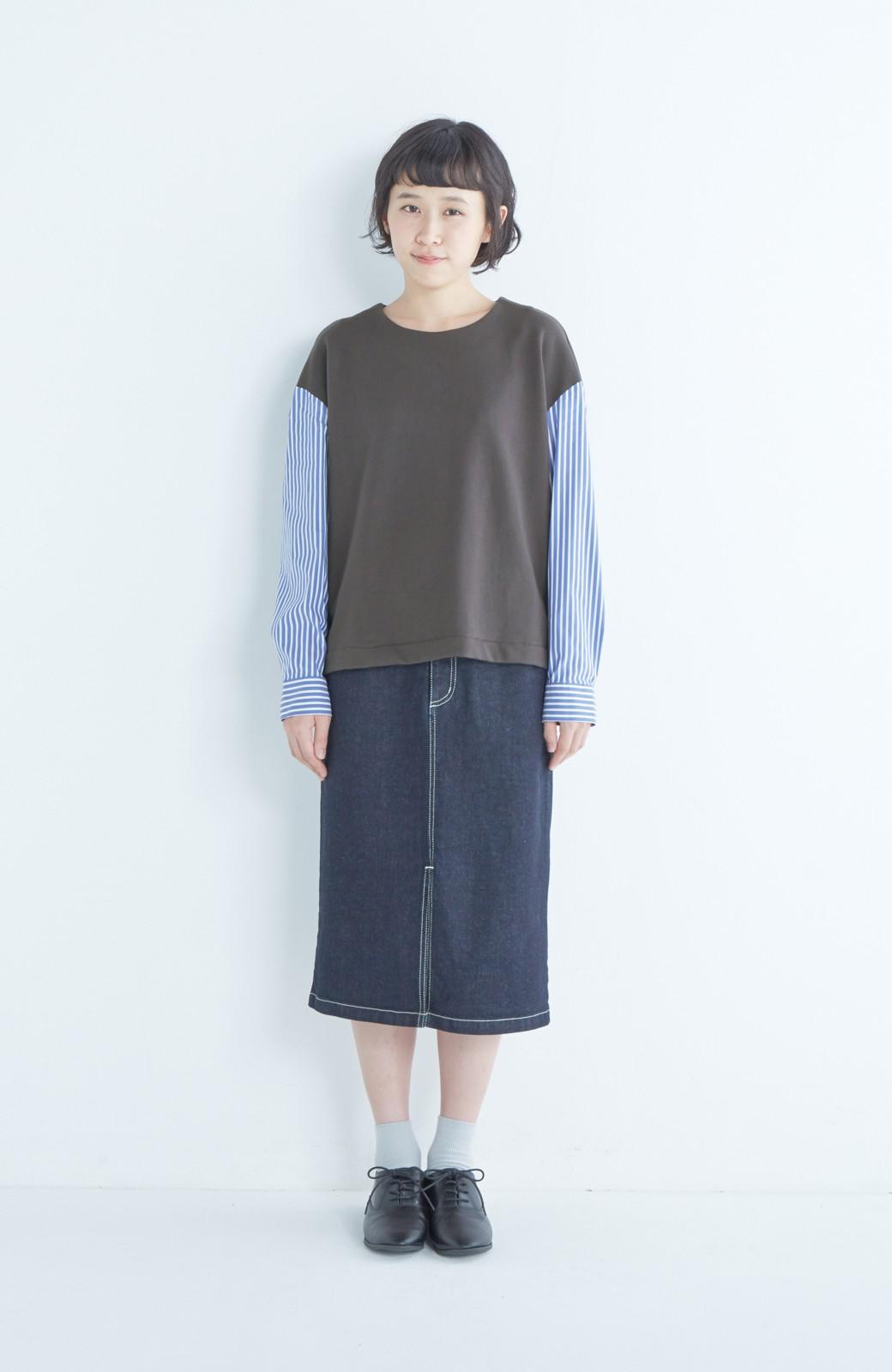 nusy ぱっと着るだけで簡単なのにスウェットより油断してなく見える、シャツ袖スウェット <チャコールグレー>の商品写真11