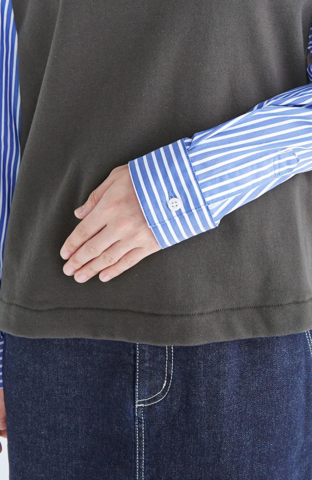nusy ぱっと着るだけで簡単なのにスウェットより油断してなく見える、シャツ袖スウェット <チャコールグレー>の商品写真13