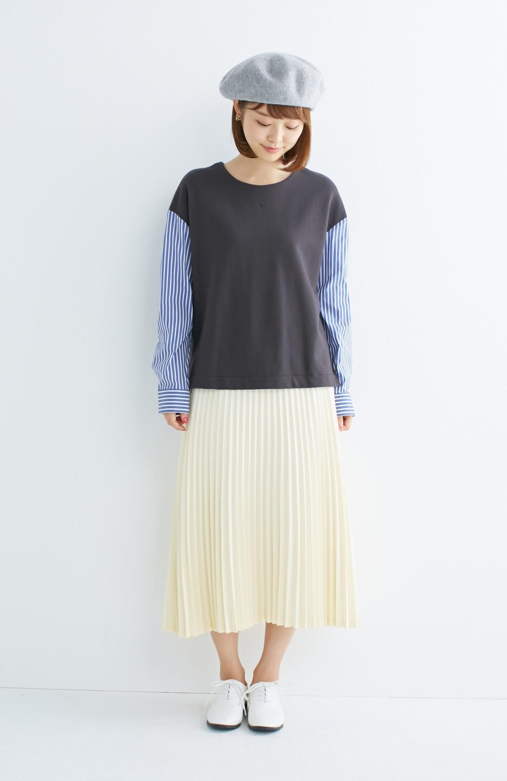 nusy ぱっと着るだけで簡単なのにスウェットより油断してなく見える、シャツ袖スウェット <チャコールグレー>の商品写真4