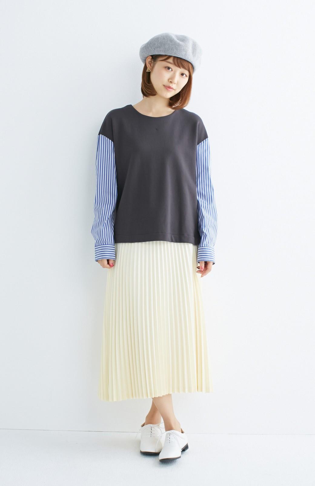 nusy ぱっと着るだけで簡単なのにスウェットより油断してなく見える、シャツ袖スウェット <チャコールグレー>の商品写真5