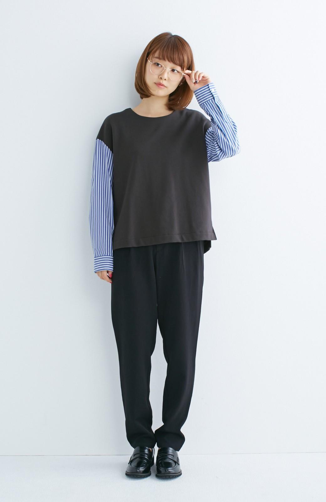 nusy ぱっと着るだけで簡単なのにスウェットより油断してなく見える、シャツ袖スウェット <チャコールグレー>の商品写真6