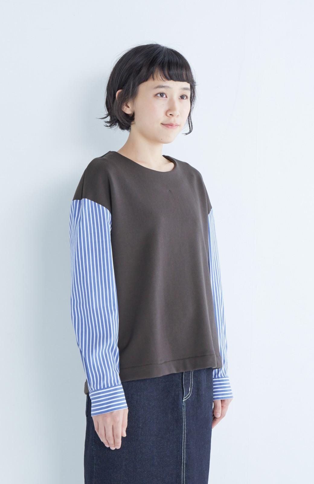 nusy ぱっと着るだけで簡単なのにスウェットより油断してなく見える、シャツ袖スウェット <チャコールグレー>の商品写真7