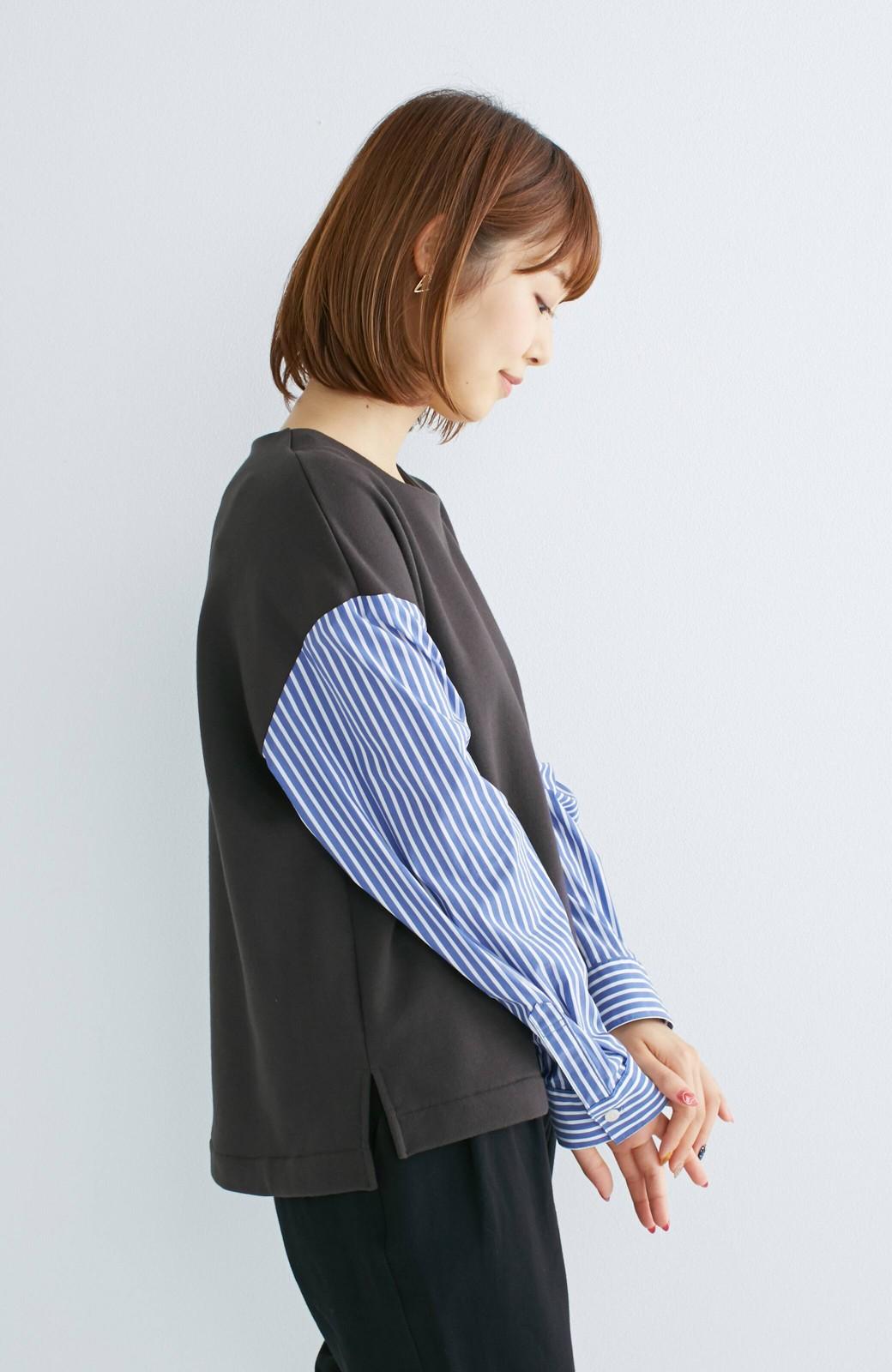 nusy ぱっと着るだけで簡単なのにスウェットより油断してなく見える、シャツ袖スウェット <チャコールグレー>の商品写真14