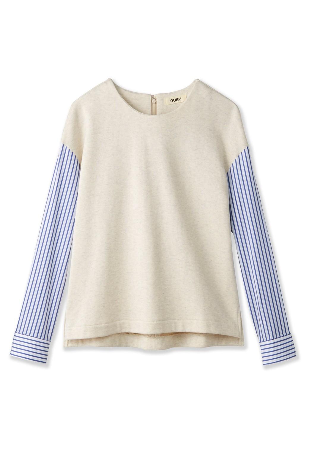 nusy ぱっと着るだけで簡単なのにスウェットより油断してなく見える、シャツ袖スウェット <オートミール>の商品写真1