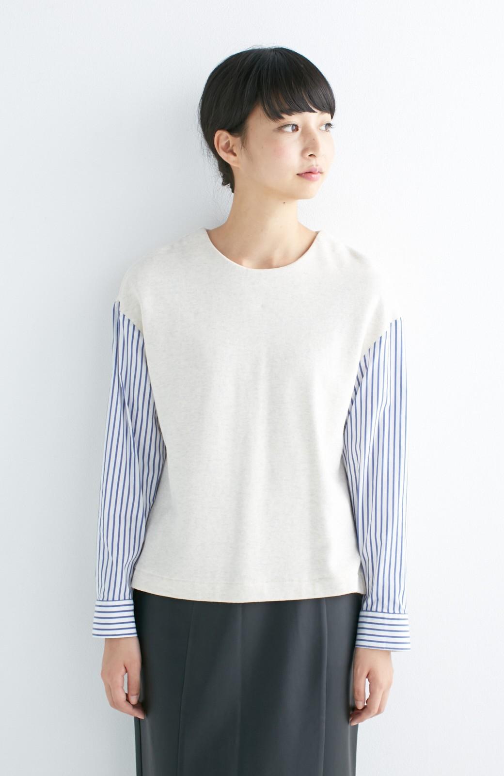 nusy ぱっと着るだけで簡単なのにスウェットより油断してなく見える、シャツ袖スウェット <オートミール>の商品写真2