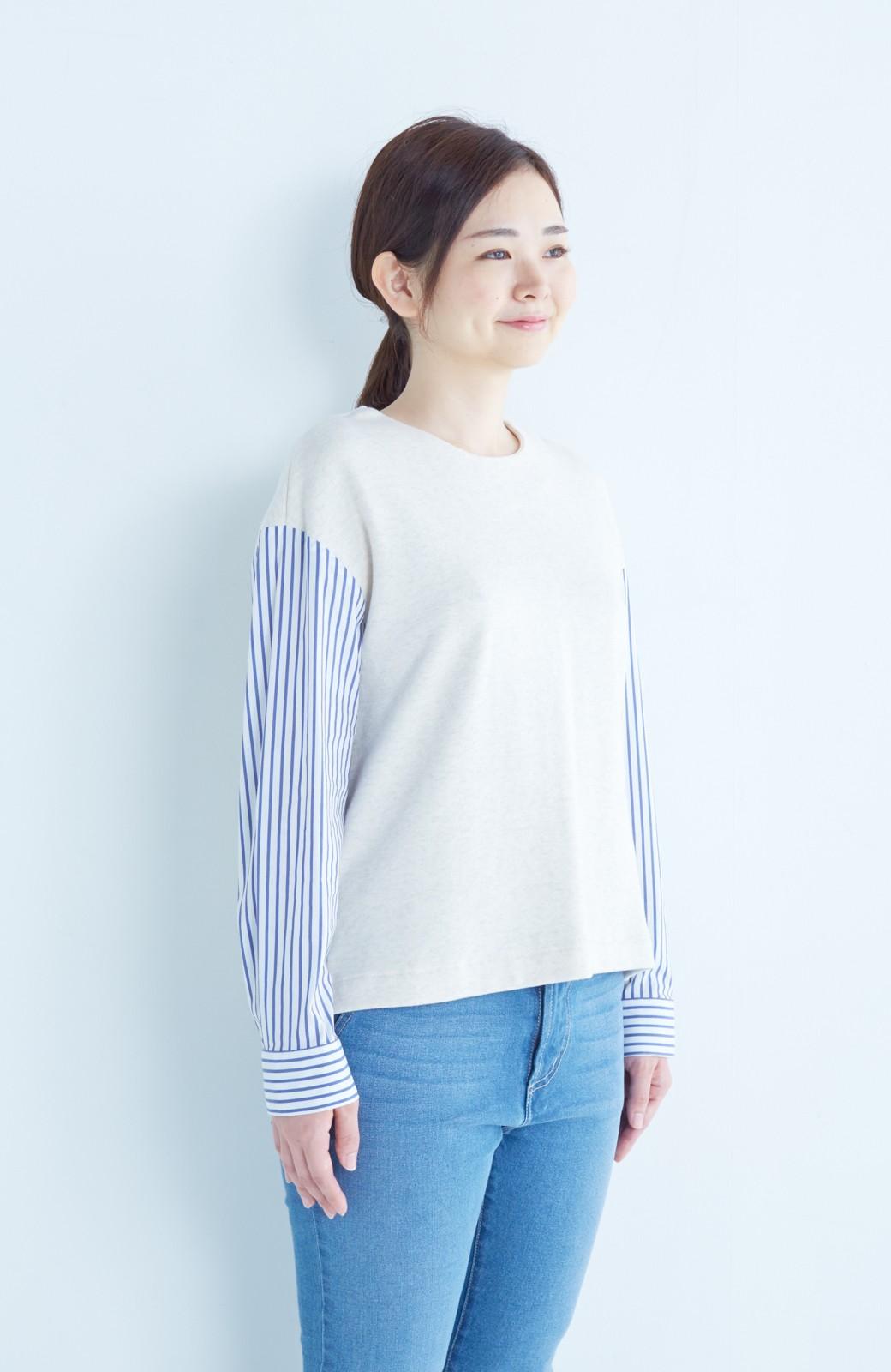 nusy ぱっと着るだけで簡単なのにスウェットより油断してなく見える、シャツ袖スウェット <オートミール>の商品写真16