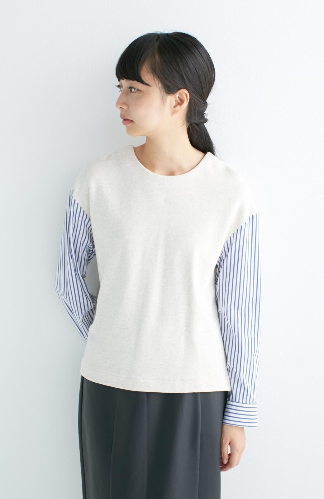 nusy ぱっと着るだけで簡単なのにスウェットより油断してなく見える、シャツ袖スウェット <オートミール>の商品写真9