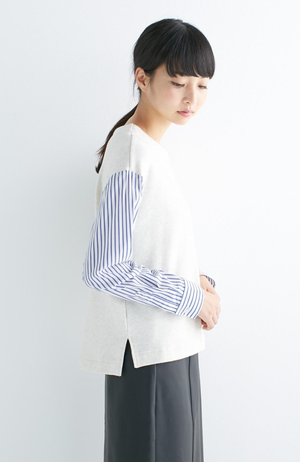 nusy ぱっと着るだけで簡単なのにスウェットより油断してなく見える、シャツ袖スウェット <オートミール>の商品写真10