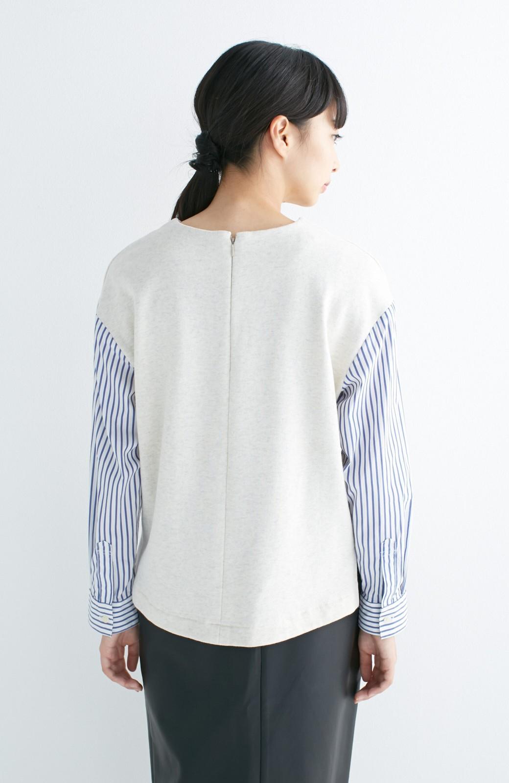 nusy ぱっと着るだけで簡単なのにスウェットより油断してなく見える、シャツ袖スウェット <オートミール>の商品写真11