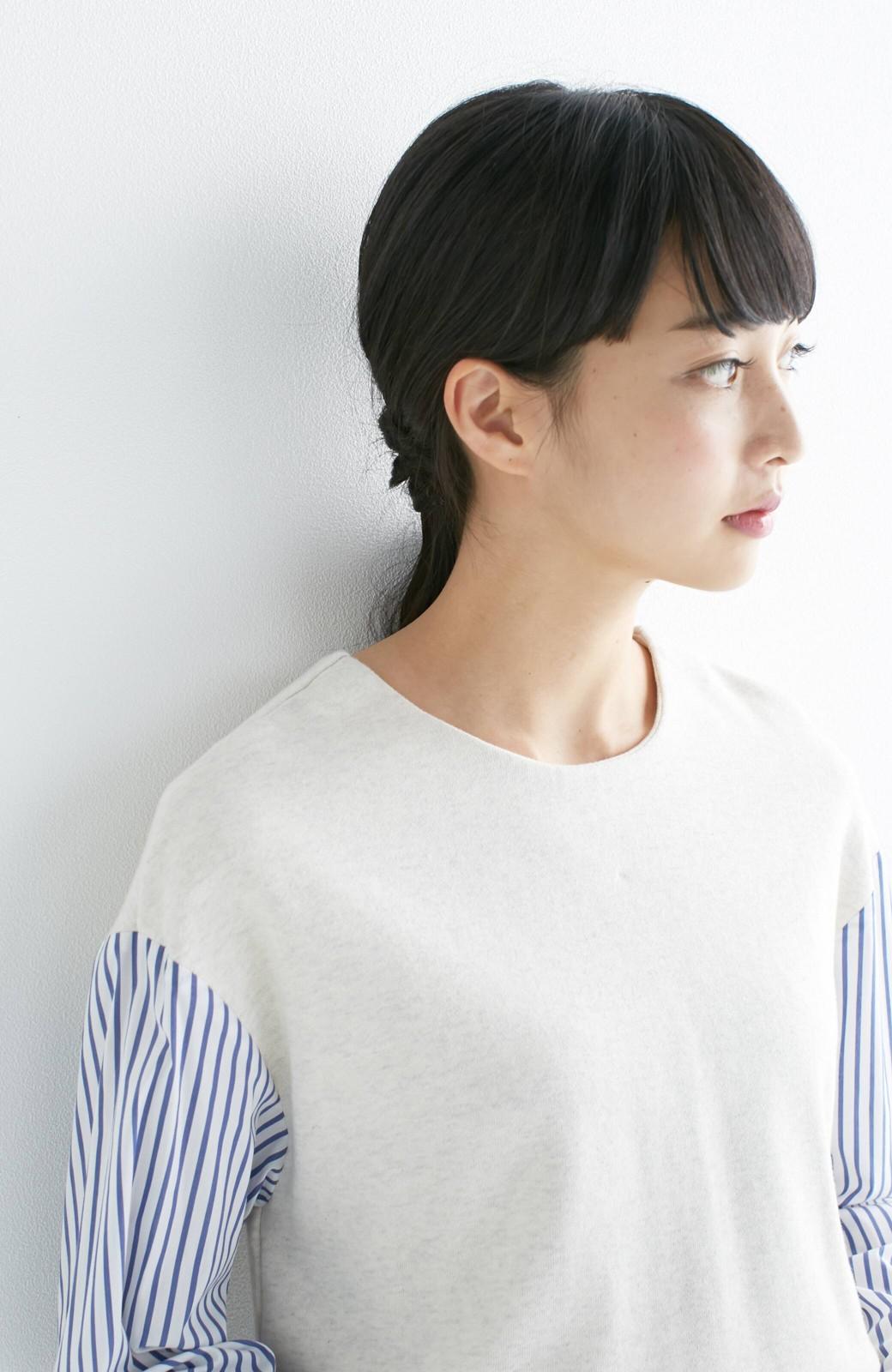 nusy ぱっと着るだけで簡単なのにスウェットより油断してなく見える、シャツ袖スウェット <オートミール>の商品写真12