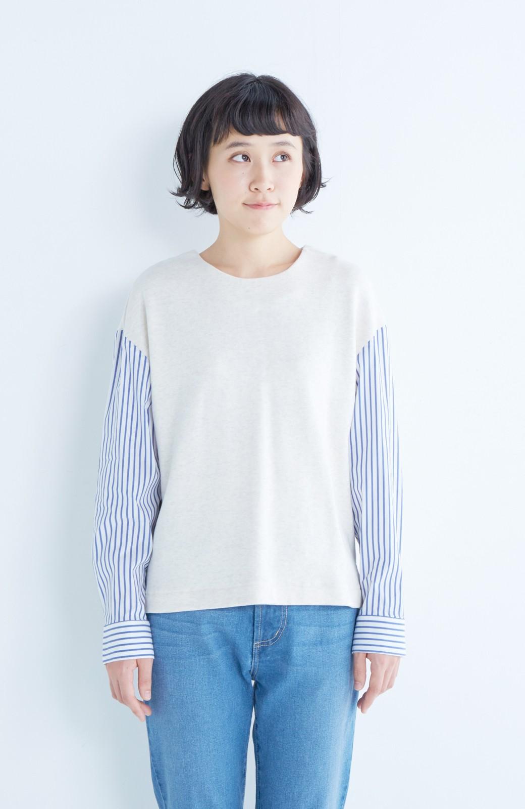 nusy ぱっと着るだけで簡単なのにスウェットより油断してなく見える、シャツ袖スウェット <オートミール>の商品写真15