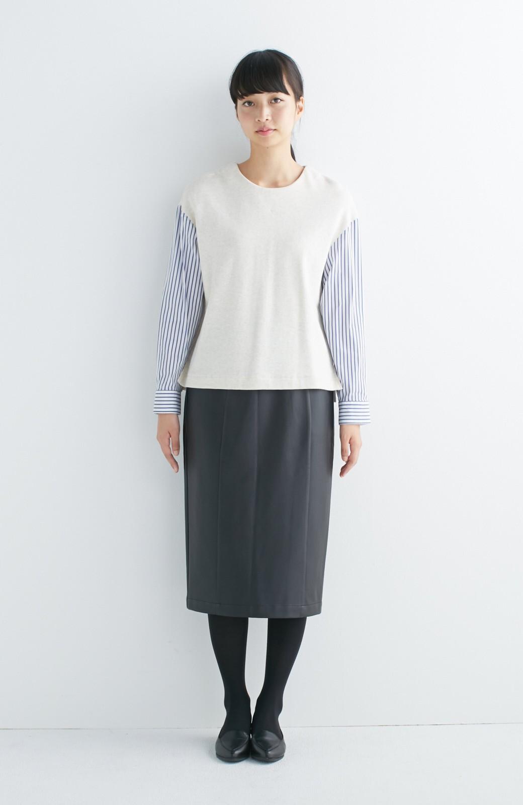nusy ぱっと着るだけで簡単なのにスウェットより油断してなく見える、シャツ袖スウェット <オートミール>の商品写真3