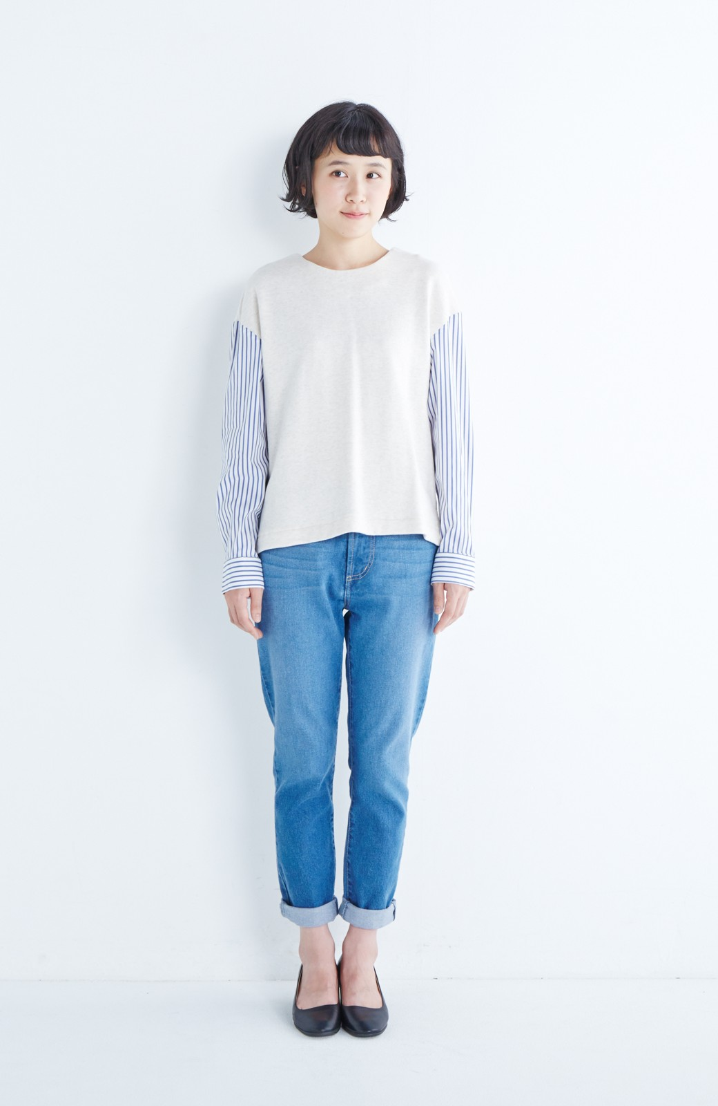 nusy ぱっと着るだけで簡単なのにスウェットより油断してなく見える、シャツ袖スウェット <オートミール>の商品写真7