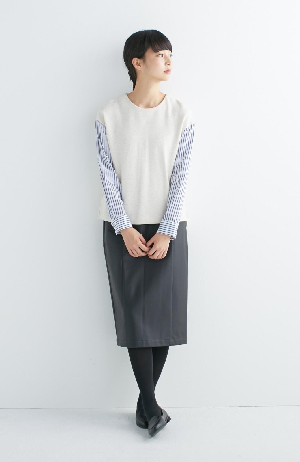 nusy ぱっと着るだけで簡単なのにスウェットより油断してなく見える、シャツ袖スウェット <オートミール>の商品写真4