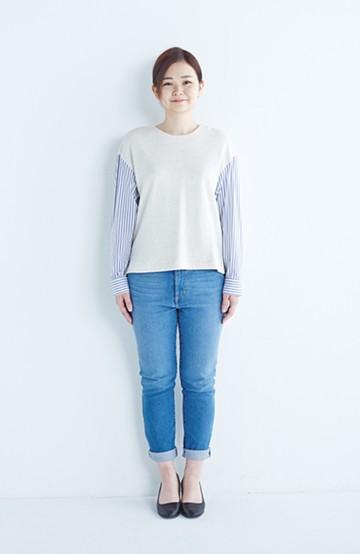 nusy ぱっと着るだけで簡単なのにスウェットより油断してなく見える、シャツ袖スウェット <オートミール>の商品写真
