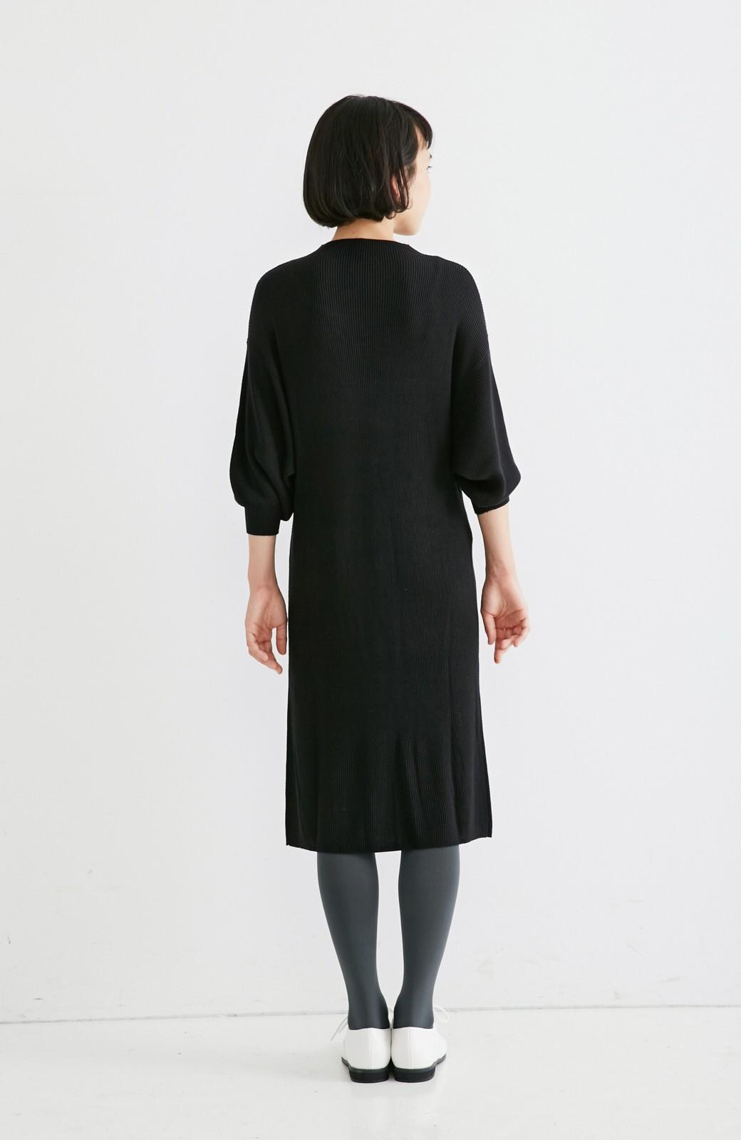 エムトロワ 吸湿発熱素材の袖ぷっくりリブニットワンピース <ブラック>の商品写真6