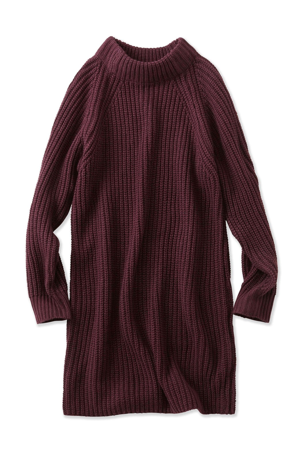 エムトロワ 重ね着もかわいいざっくりニットワンピース <ワイン>の商品写真1