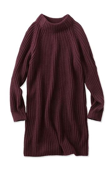 エムトロワ 重ね着もかわいいざっくりニットワンピース <ワイン>の商品写真