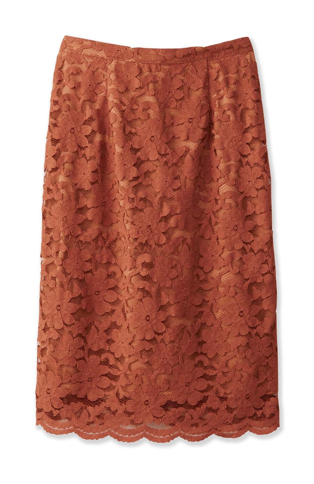 エムトロワ フェミニンレースタイトスカート  <ライトブラウン>の商品写真1
