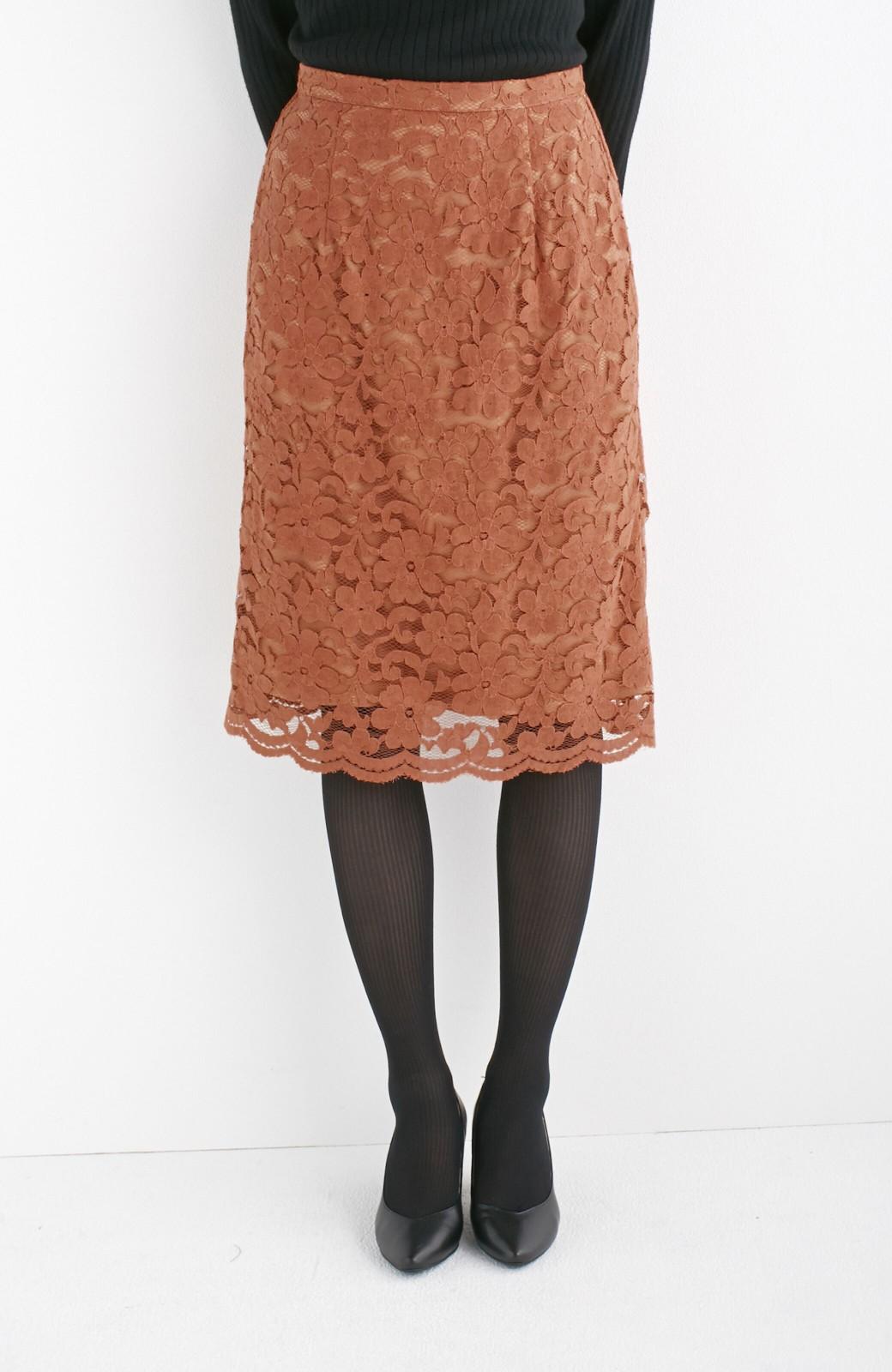 エムトロワ フェミニンレースタイトスカート  <ライトブラウン>の商品写真2