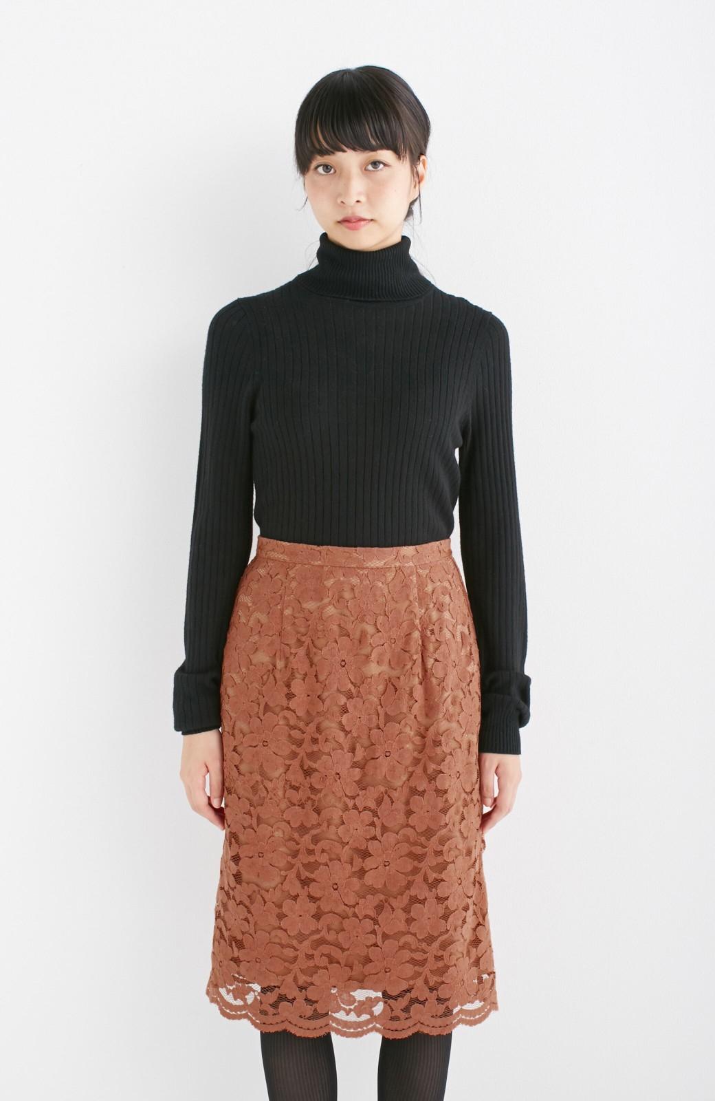 エムトロワ フェミニンレースタイトスカート  <ライトブラウン>の商品写真7