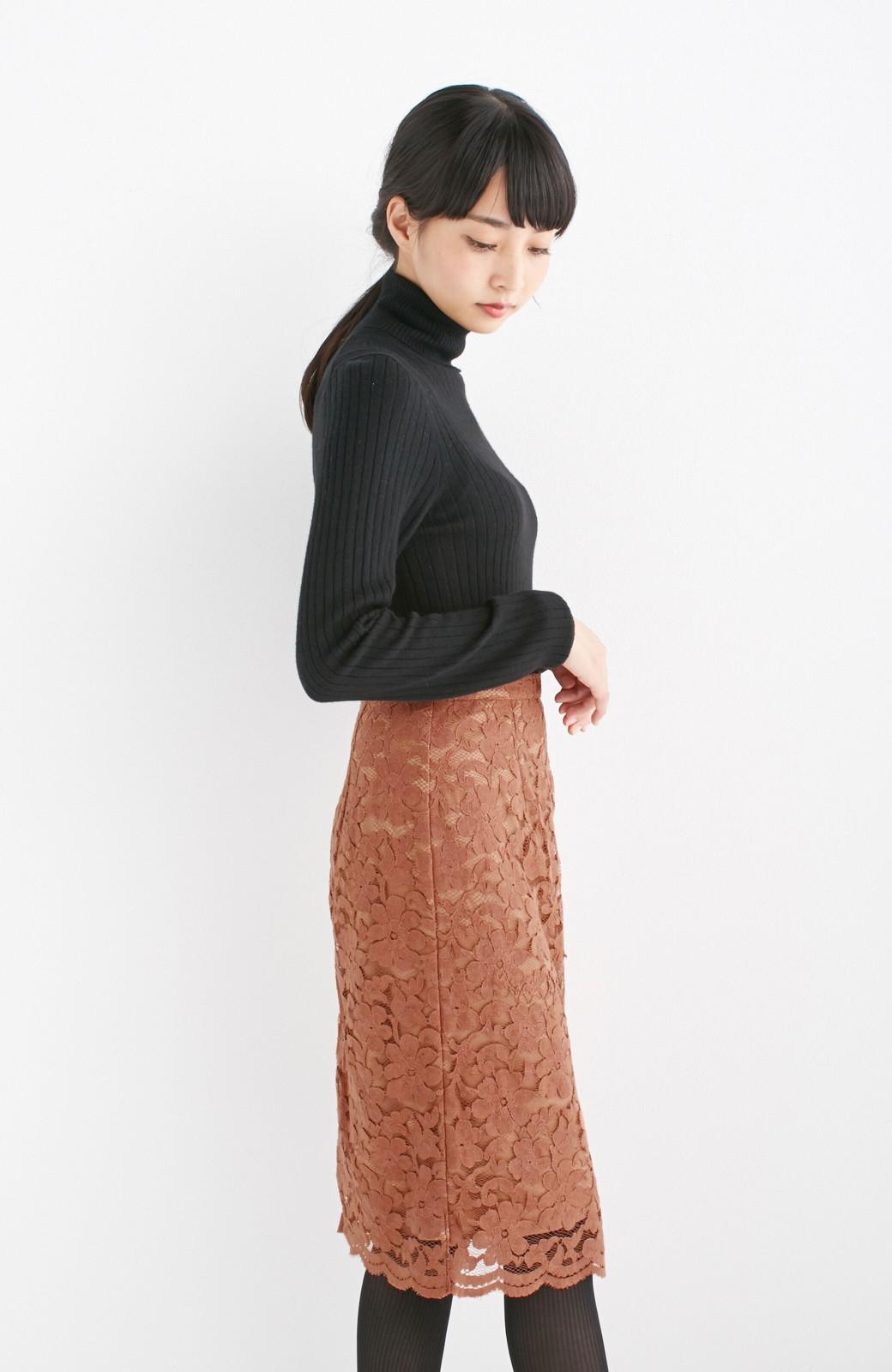 エムトロワ フェミニンレースタイトスカート  <ライトブラウン>の商品写真8