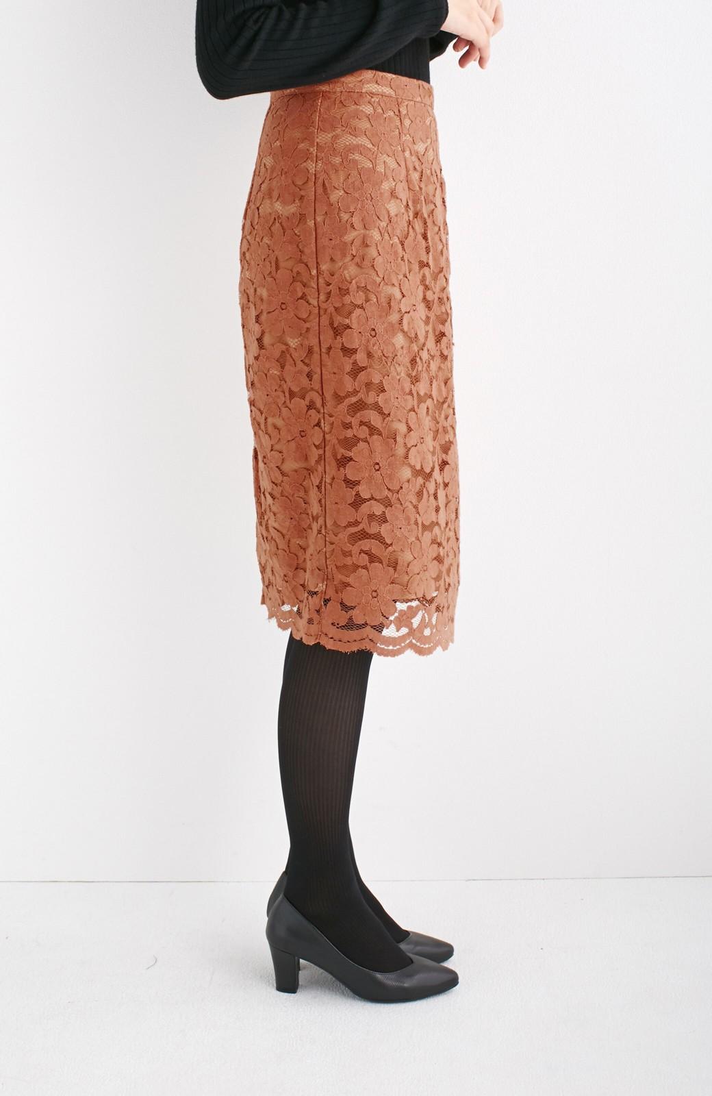 エムトロワ フェミニンレースタイトスカート  <ライトブラウン>の商品写真10