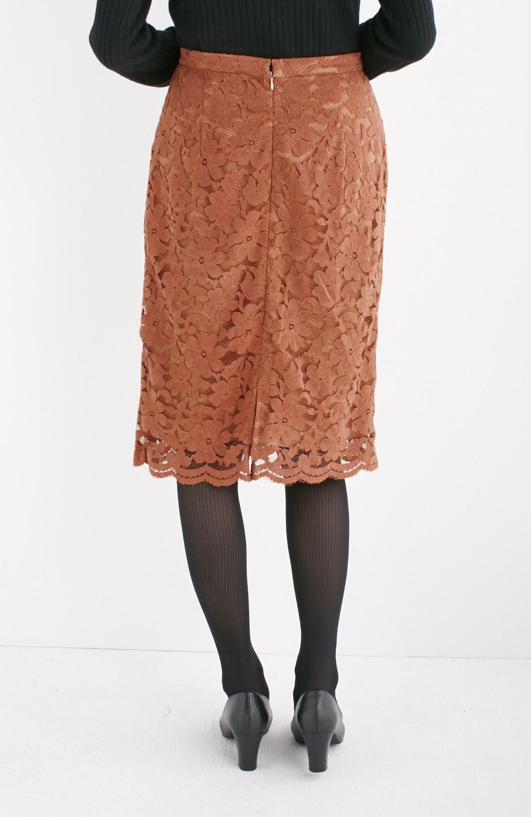 エムトロワ フェミニンレースタイトスカート  <ライトブラウン>の商品写真11
