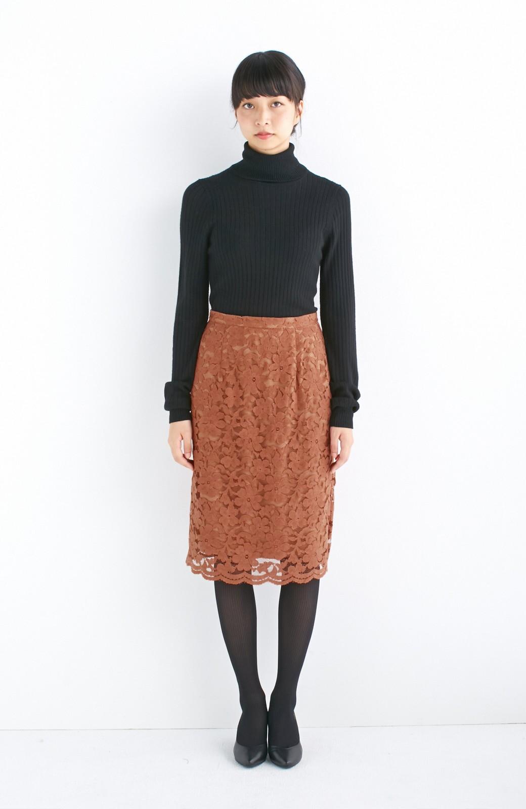 エムトロワ フェミニンレースタイトスカート  <ライトブラウン>の商品写真3