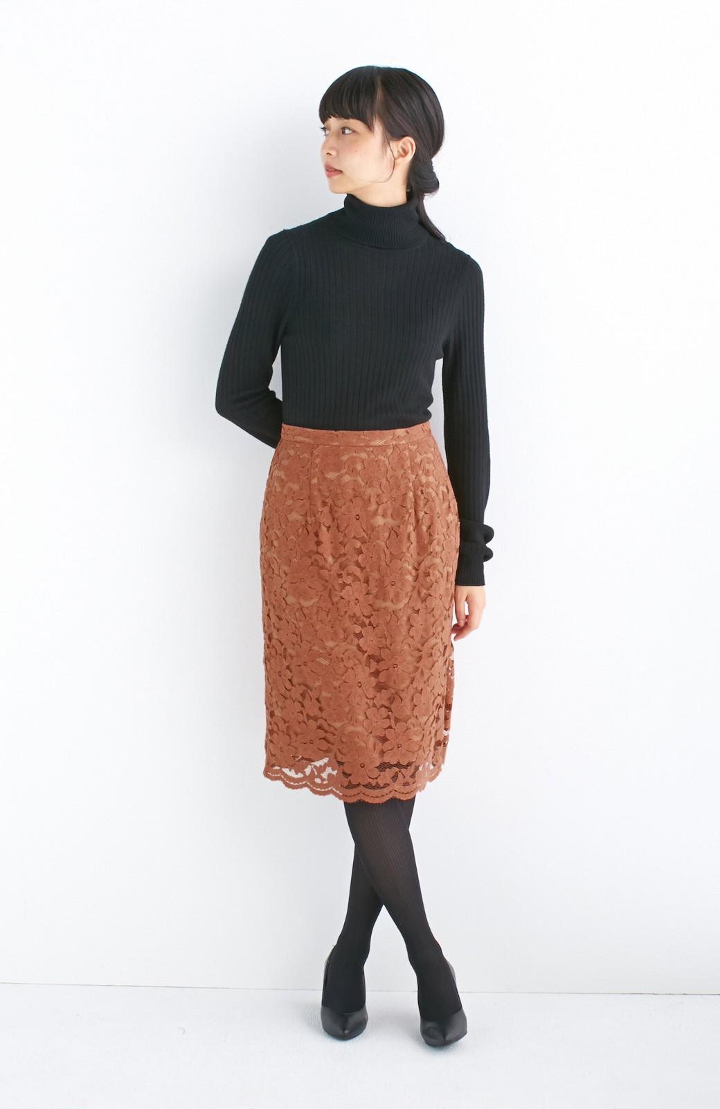 エムトロワ フェミニンレースタイトスカート  <ライトブラウン>の商品写真4