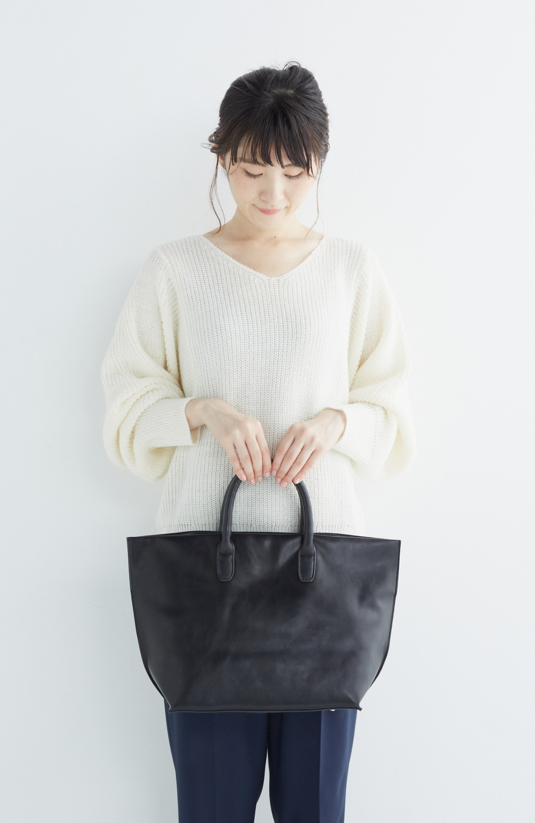 SHE THROUGH SEA マニッシュトート <ブラック>の商品写真6