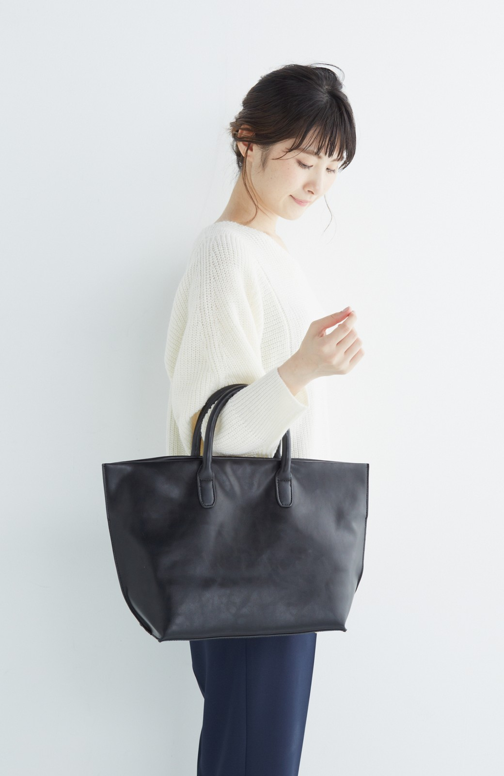 SHE THROUGH SEA マニッシュトート <ブラック>の商品写真7