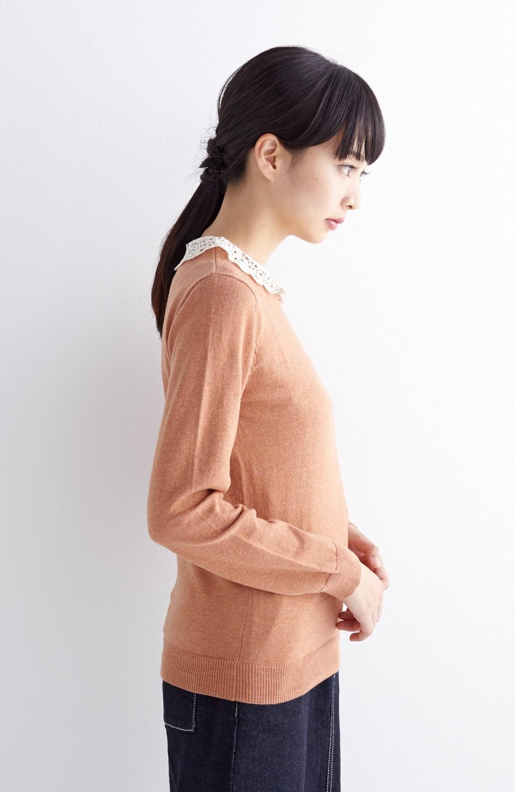 エムトロワ レース衿がかわいい大人ガーリーニット <ベージュ>の商品写真6