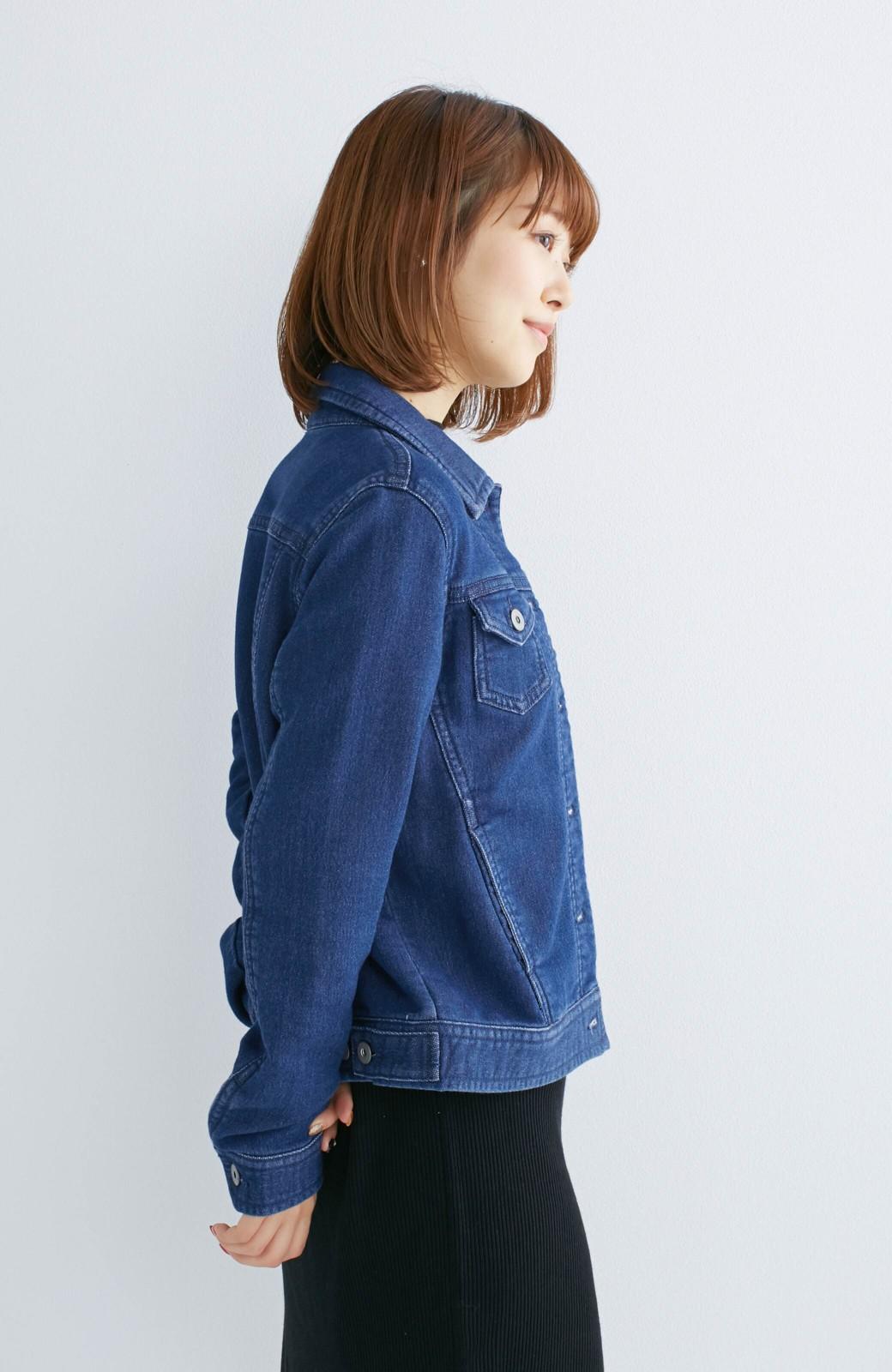 nusy 大人っぽくて動きやすいニットデニムジャケット <インディゴブルー>の商品写真11