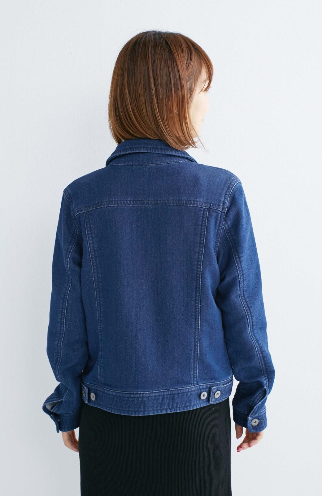 nusy 大人っぽくて動きやすいニットデニムジャケット <インディゴブルー>の商品写真12