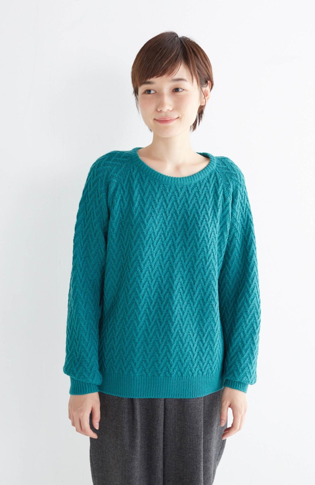 nusy お家で洗えてきれいがつづく V柄編みクルーネックニット <グリーン>の商品写真1