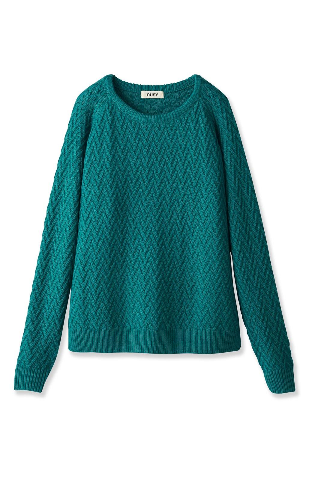nusy お家で洗えてきれいがつづく V柄編みクルーネックニット <グリーン>の商品写真2