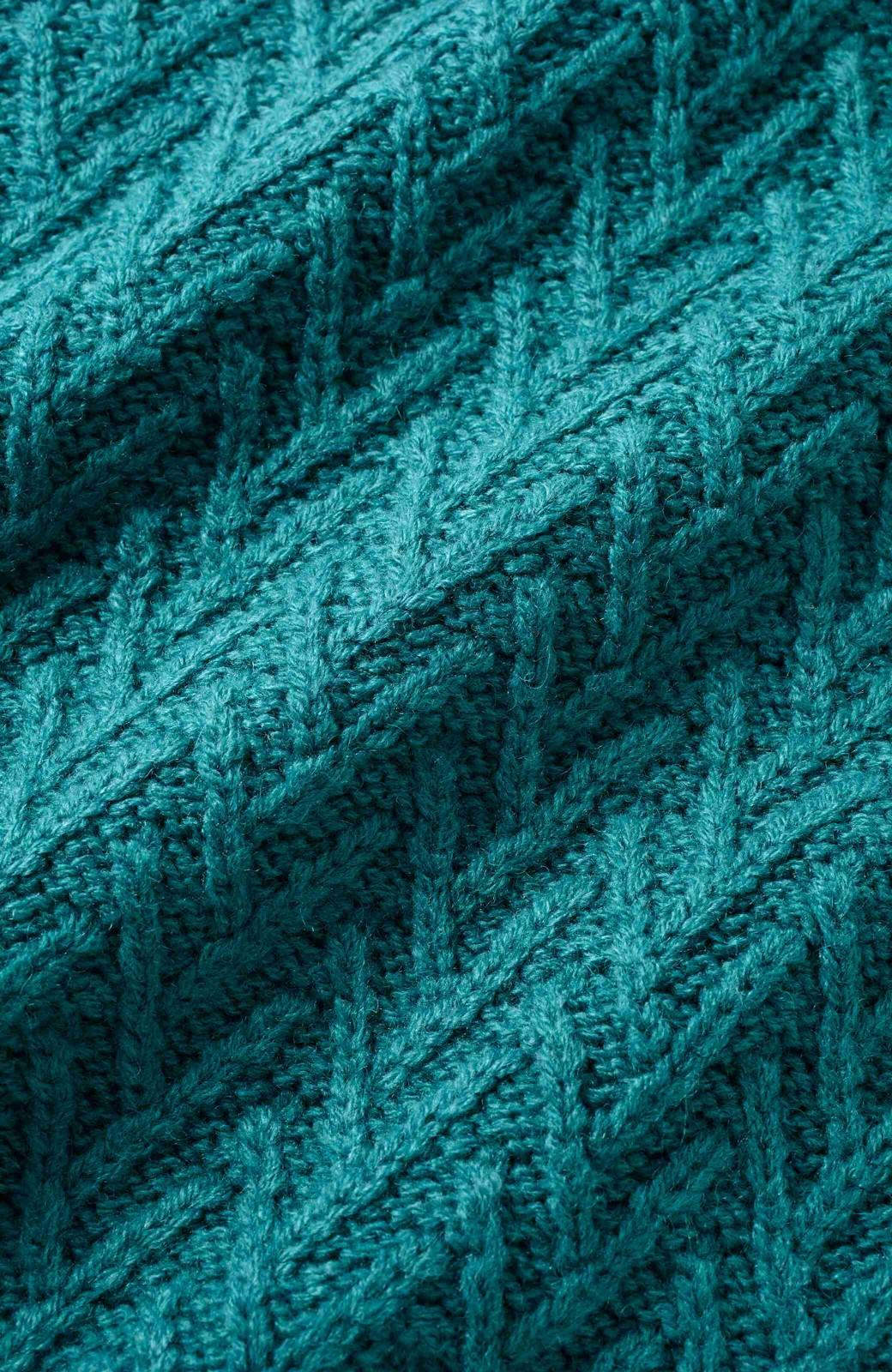 nusy お家で洗えてきれいがつづく V柄編みクルーネックニット <グリーン>の商品写真3