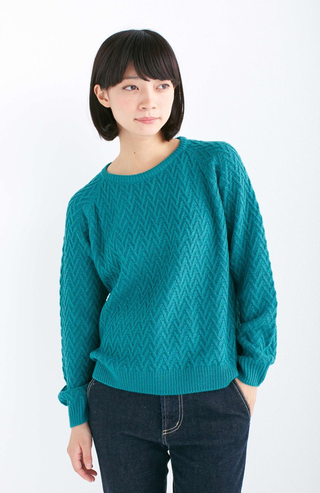 nusy お家で洗えてきれいがつづく V柄編みクルーネックニット <グリーン>の商品写真7